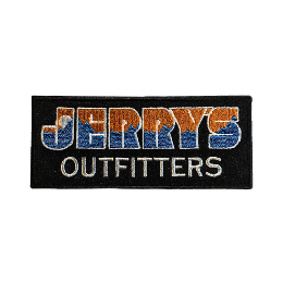 """JERRY'S OUTFITTERS"" logo patch!!  Orange×Blue"